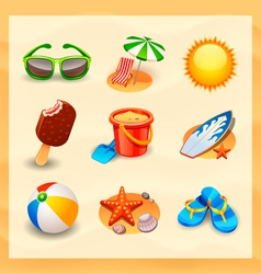 Beach icon set vector