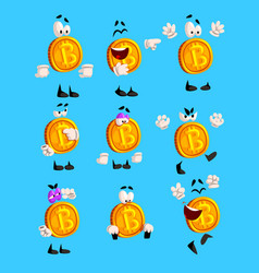 bitcoin character sett crypto currency emoji with vector image