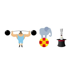 Circus set elements vintage circus strongman retro vector
