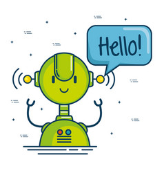 cute cartoon robots technology vector image