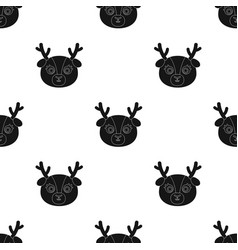 Deer muzzle icon in black style isolated on white vector