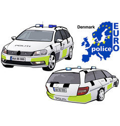 Denmark police car vector