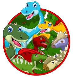Dinosaur cartoon collection in frame vector