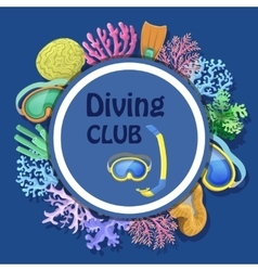 Diving club advertising with round decorative vector
