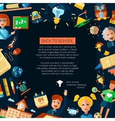 Flyer tempalte of school college flat design vector image