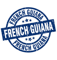 French guiana blue round grunge stamp vector
