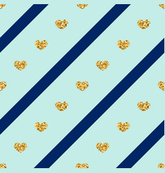 Gold hearts line seamless pattern vector