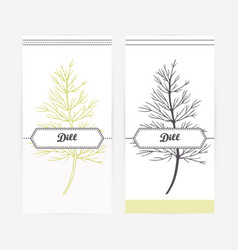 Hand drawn dill in outline and silhouette style vector