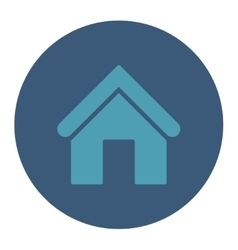 Home flat cyan and blue colors round button vector image