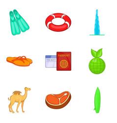 Hot summer icons set cartoon style vector