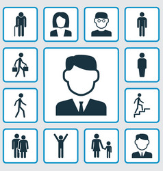 human icons set collection of delivery person vector image vector image