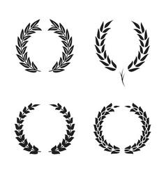 laurel wreath foliate symbols set black circular vector image vector image