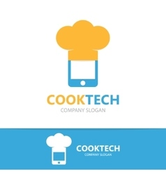 Logo combination of a phone and chef hat vector