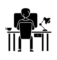 man working on computer on table sitting back icon vector image vector image