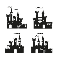 Medieval castle icon set vector