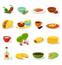 mexican food traditional menu icon set vector image