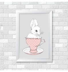Rabbit in the cup Hand drawing vector image vector image