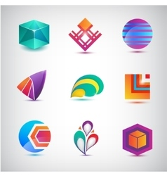 Set of abstract logos icons minimal vector