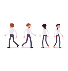 Set of male and female clerk walking rear front vector