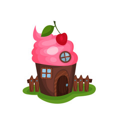 Small fancy house in shape of cupcake or ice-cream vector