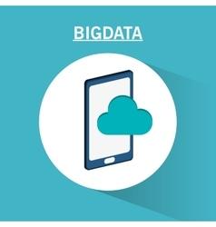 Smartphone cloud and big data design vector