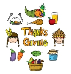 Thanksgiving fruit and vegetable on doodles vector