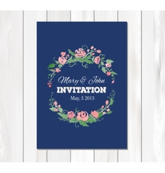 wedding invitation with watercolor flowers vector image vector image