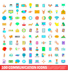 100 communication icons set cartoon style vector image