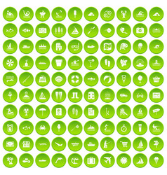 100 water recreation icons set green vector