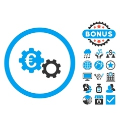 Euro mechanics flat icon with bonus vector