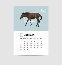 2017 January calendar horse polygon vector image