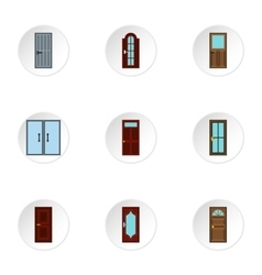 Security doors icons set flat style vector image
