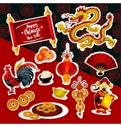 Chinese New Year sticker set with holiday symbols vector image