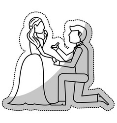 Couple wedding proposal romantic outline vector