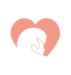 profile woman heart romantic image vector image