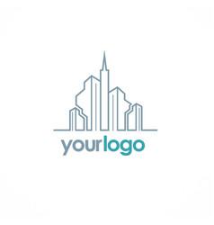 Building city line logo vector