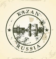 Grunge rubber stamp with kazan russia vector