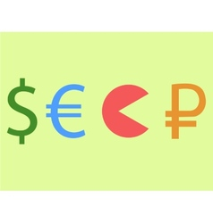 Dollar and euro eating rouble vector