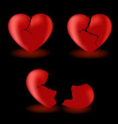set from broken hearts vector image