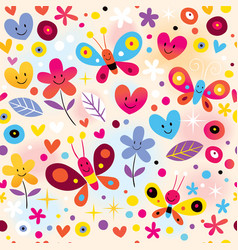 Butterflies hearts flowers pattern vector