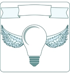 Icon light bulb lamp with wings halo banner vector