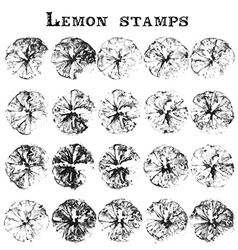 Lemon and orange stamps vector
