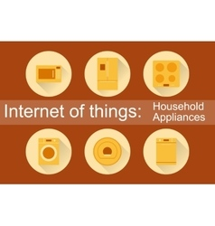 Internet of things household appliances 6 icons vector