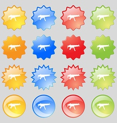 Machine gun icon sign big set of 16 colorful vector