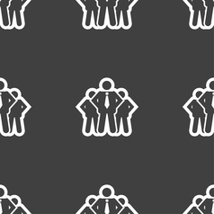 Business team icon sign seamless pattern on a gray vector