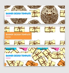 Sketch banner template with presents and hedgehog vector