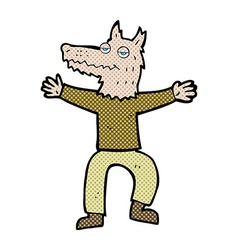 Comic cartoon wolf man vector