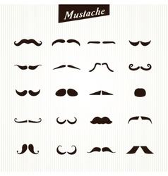 Set of mustaches isolated vector
