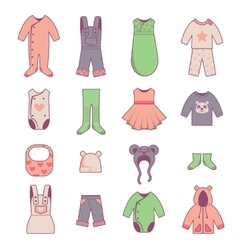 Baby cloth icons set vector