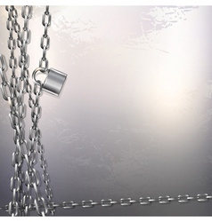 Chain and padlock on metal background vector image